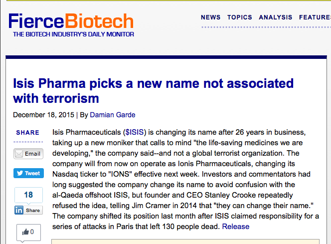 Isis Pharma Changes Name Due to Terrorism