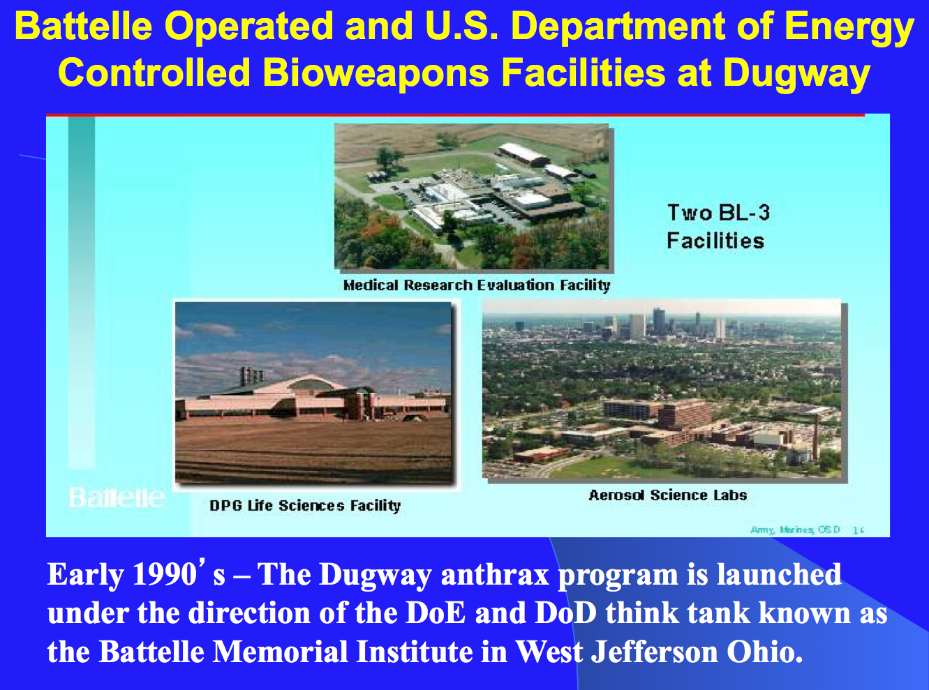 Battelle US DoE Dugway Anthrax Facilities
